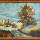 Alpine Vintage Mountain Landscape Painting Autumn Snowy Peaks Barn Rustic Framed