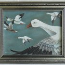 Vintage Original Painting Harriet Harris Flock Geese Flight Ornithology Framed