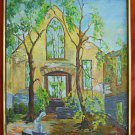 California Mission Painting Courtyard Architectural Western Vintage J Blair
