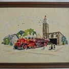 Vintage Needlework Firehouse Fire Truck Dalmatian Dog 19 AVFD 25 Country Flag
