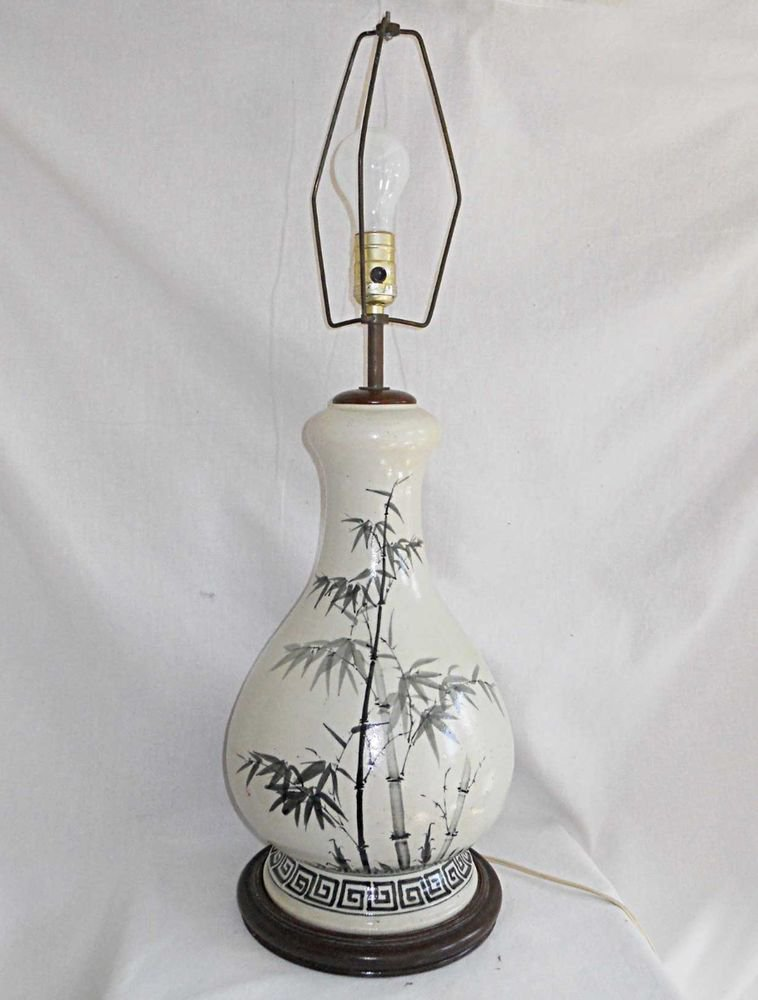 Lamp Vintage Chinese Bamboo Painted Ceramic Stoneware Pottey Massive Bulbous