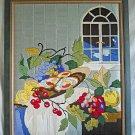 Modernist Vintage Needlework Fruit Still Life Cherries Night Tabketop Window