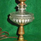 Antique Lamp Clear Pressed Glass Table Glass Brass Pillar Base Small  Decor