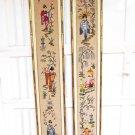 Vintage Pair Japanese Geisha Needlepoint Panels Modernist Gilded Frame Towering