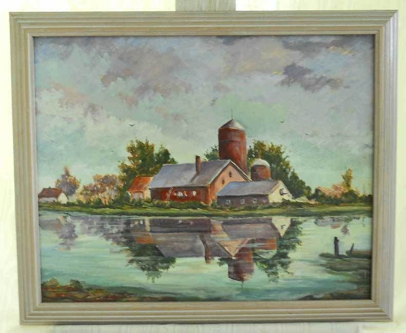 Painting Vintage Framed Oil Mid West American Iconic Pastoral Farm Red Barn Silo