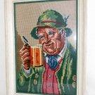 Needlepoint Vintage Antique Framed Beer Stein Portait Folklore Costume Bavaria