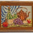 Vintage Needlepoint Still Life Chianti Bottle Copper Tea Pot Fruits Regency
