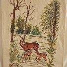Needlepoint Deer Fawns in Forest Landscape Cabin Decor Handmade Botanical