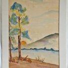 Vintage Modernist Watercolor Painting Landscape Calif Margo Scaringi 67 Sunrise