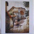 Vintage Original Watercolor Painting Colonial Village South America Adobe Mendez