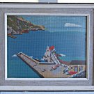 Vintage Needlepoint Greece  Landscape Marine Cove Coast Harbour Med Aegean Blue