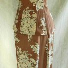 Armond Ventilo Dark Print Colorblock Maxi Skirt Fitted Flare Peplum Blouse Nos