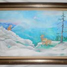 Folk Naive Vintage Painting Snow Western Landscape Bighorn Sheep Mountain Fran