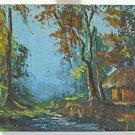 Impressionist Vintage Haitian Painting F Wamaba on Flour Sack Wooded Landscape
