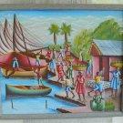 Haitian Painting Signed Vintage Fishing Port Village Market Boat Net Palm Tree