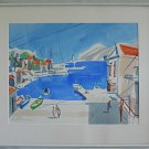 Greek Seascape Original Painting Watercolor Sandford Greece Port Island Vintage