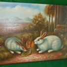 Rabbits Eating Leaf Pastoral Landscape Vintage Antique Alfyad Oil Painting