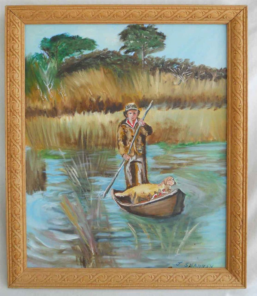 Vintage Painting Hunter Dog Boat Low Country Marsh Golden Retriever J Shannon