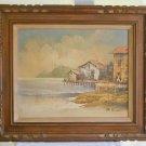 Original Vintage Oil Painting Landscape Marine Primitive Stilt Village B Rooke