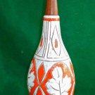 Vintage Mid Century Modern Italian Orange Lamp Incised Leaf Signed NR Wood Decor