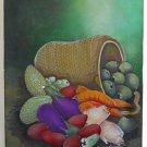 Culinary Vintage Still Vegetables Life Oil Painting Basket Modernist  Thelemaque