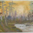 Western Vintage Original Painting Forest Landscape Dreamy Waterfall Pine Sharkey