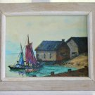 Vintage Mid Century Modern Oil Painting 1958 Harville The Boats Sarasota Florida