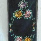 Antique Velvet Theorem Runner Parrot  Hand Painted Folk Art Flowers Ornithology