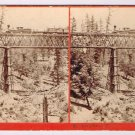 Stereoview Watkins Hart #42 Long Ravine Bridge CPRR Locomotive Railroad