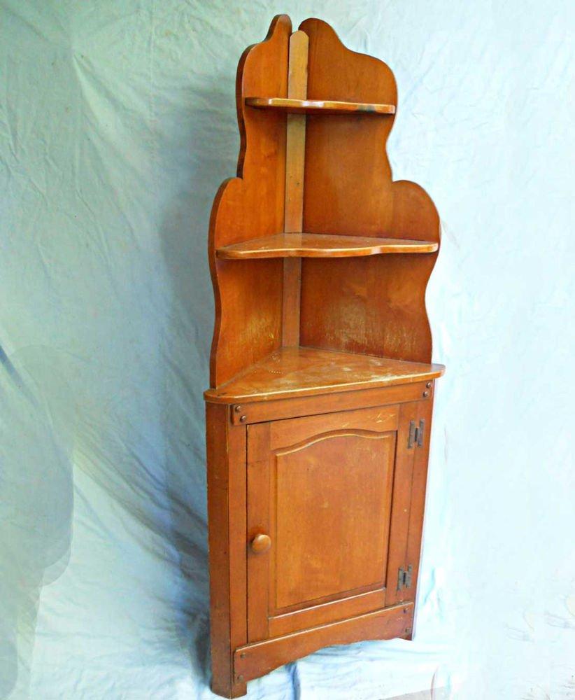 Vintage Corner Cabinet Triangular Rustic Primitive Americana Shelf Cupboard