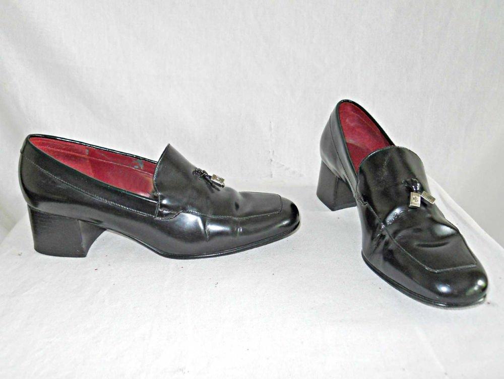 Ralph Lauren Vintage Loafers Mocs Slip Ons Mannish Block Heel Logo Gladys 6.5B