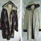 Vintage Reversible Coat Jacket Swing Hooded Faux Fur Rain Gallery Sportswear XL