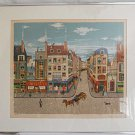 Eugène Valentin Latour Signed Numbered Lithograph Paris France Scene Framed