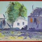 Mid Century Modern  Vintage Painting Farm Houses Rural Landscape Powerful Sloan