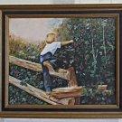 Vintage Painting Barefoot Boy Cherry Picking Orchard Washington Mae Staples