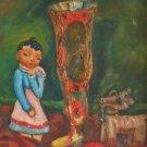 Vintage Allegorical Painting Still Life Doll Folk Wood Leg Toy Cow Alperin 1946