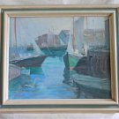 Vintage Original Painting Harbour Scene Modernist George William Dinckel Marine