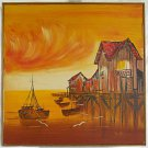 Monterey Vintage Original Painting  Fishing Boat Wharf California Huge N Mener