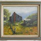 Vintage Painting Original Oil Western Mountain Cabin Plein Air Ranch Rolston