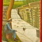Original Folk Art Landscape Oil Painting Fisherman Dam Rapids Minnesota A  WOOD