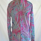 Tuxedo Shirt Rat Pack Marble Print NOS Pleated Wing collar Pink Multicolor XS