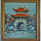 China City Gate Pagoda Street Life Vintage Oil Painting Chinese Artist Signed