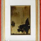 Antique Orotone Photograph Sailboats Marine Boat Dreamy Seascape Matted Framed