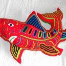 Mola Handmade Patchwork Decor Kuna Fish Shark Pillow Cut Out Panama Red Green
