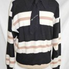 Sonia Rykiel Angora Stripe Attached Matching Tie Crystal Embellished Sweater NOS