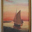 Art Deco Antique Painting 1933 L Tarr Marine Sail Boats Sunset Romantic Framed