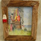 Beachy Nautical Fishing Oil Painting Net Buoy Frame Seaside Still Life