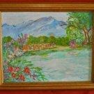 Original Painting Sarah Sara Holmberg Snow Capped Mountain Lake Landscape Texas
