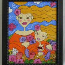 Modernist Original Painting Stylized Little Girls Glitter Overlay Deborah Carrie