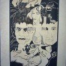 Beatles Gene Simmons Kiss Vtg Strong John Lennon Original Rock Pen Ink Drawing